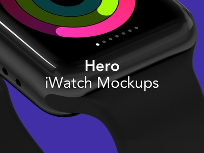 Meet HERO iWatch Mockups watch ui screen silver gold black perspective front view angle series 3 presentation mockups mockup apple craftwork iwatch