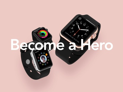 HERO iWatch Mockups watch ui screen silver gold black perspective front view angle series 3 presentation mockups mockup apple craftwork iwatch