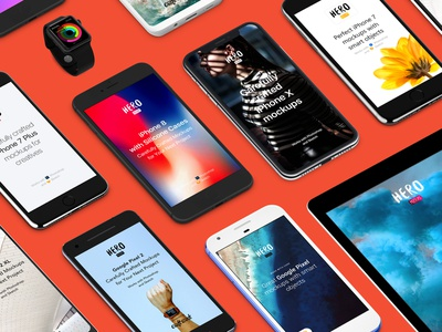 Hero Mobile Mockups with New Price perspective front view angle hero presentation mockups mockup craftwork symbols library sketch iwatch ipad iphone galaxy apple pixel android ios