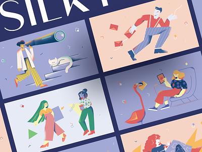 Silky Illustrations startup error 404 404 web page app application walkthrough image website site background vector eps svg landing web scene picture craftwork illustration