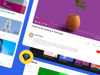 Youtube ReDesign Concept sketch ui kit free fonts prototype clean vector simple bootstratp ui design ui mobile web youtube concept redesign freebie free