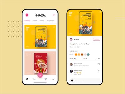 dribbble App Conceptual work