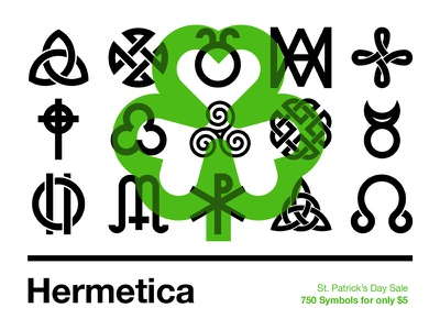 Hermetica: St. Patrick's Day Sale st. patricks day stpatricksday typography flat minimal swiss helvetica illustration icon symbol icons symbols