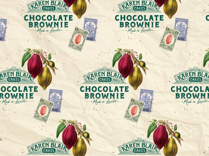Karen Blair Cakes Brownie Wrap Packaging wrap chocolate paper cakes stamps logo identity vintage brownies bakery food packaging wax paper