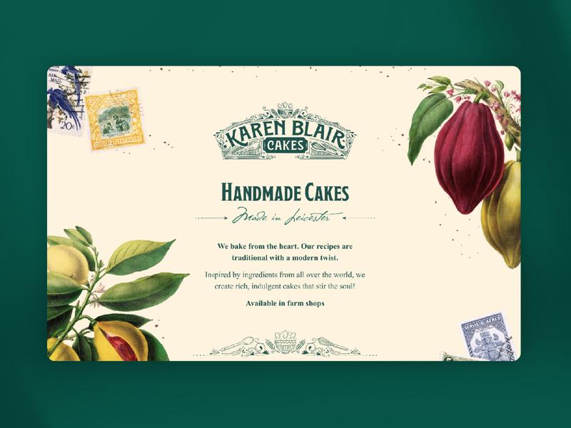 Karen Blair Cakes Landing Page branding website design ui landing page ui cakes bakery vintage digital web page website landing page