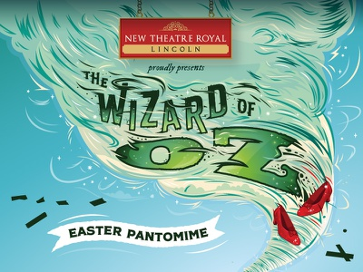 Branding for The Wizard of Oz Easter Pantomime dorothy panto emerald city identity production whirlwind tornado twister west end pantomime oz wizard of oz slippers ruby brand logo illustration new theatre royal theatre