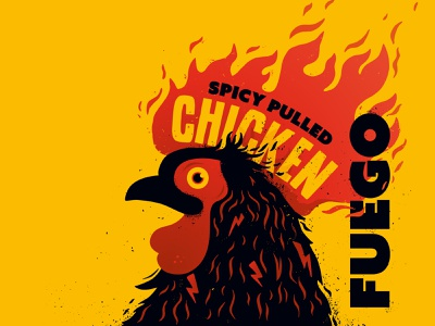 A fiery design for a hot burrito brand rock chick food restaurant branding fuego spice spicy fiery fire illustration logo branding restaurant chicken