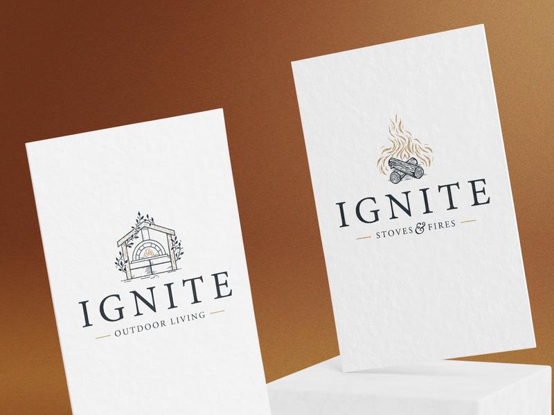 Ignite Logo Designs logs mark brand camp fire living outdoor branding logo stoves fire ignite