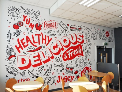 Cafe wall mural design for Lincoln College college cafe wallpaper vinyl restaurant branding food typography art wall mural illustration