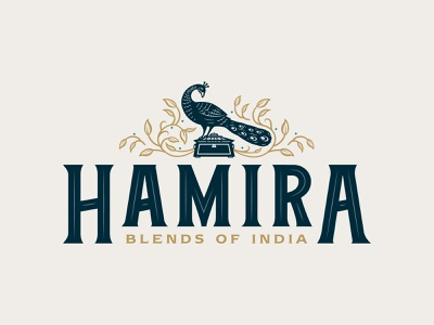 Hamira Blends of India Logo Design branding design regal royal restaurant cafe coffee tea caddy peacock hamira india tearoom tea icon mark identity logo brand