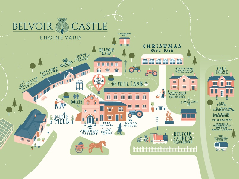 Belvoir Castle Engine Yard Illustrated Map wagon buildings engine yard belvoir castel location illustrated map gift fair shopping village shops yard place christmas event map illustration