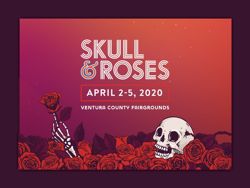 Skull & Roses Festival Posters and website band bands music event california psychadelic poster deadhead grateful dead sea of roses rose hand roses skull gig festival