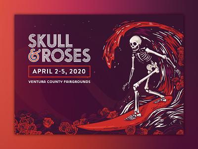 Skull & Roses Festival Poster poster gig grateful dead roses sea band bands music festival ventura waves wave surfing surf skeleton skull