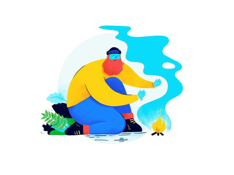 Character design for Adventures with St Barnabas procreate hospice charity expedition challenge bushcraft camping fun quirky fire beard man character illustration