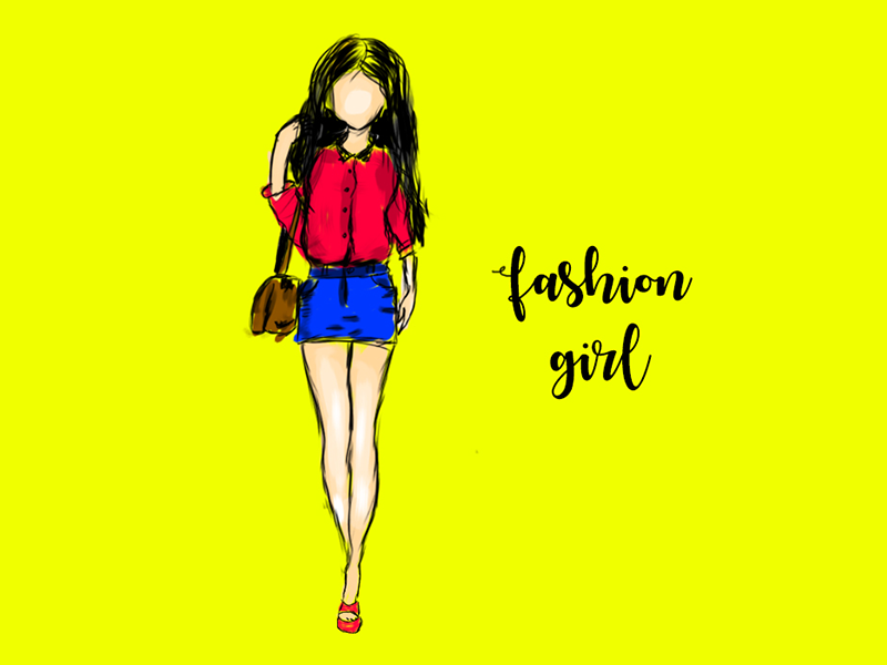 Illustration of a fashioned girl fashion girl lady design graphic illustration