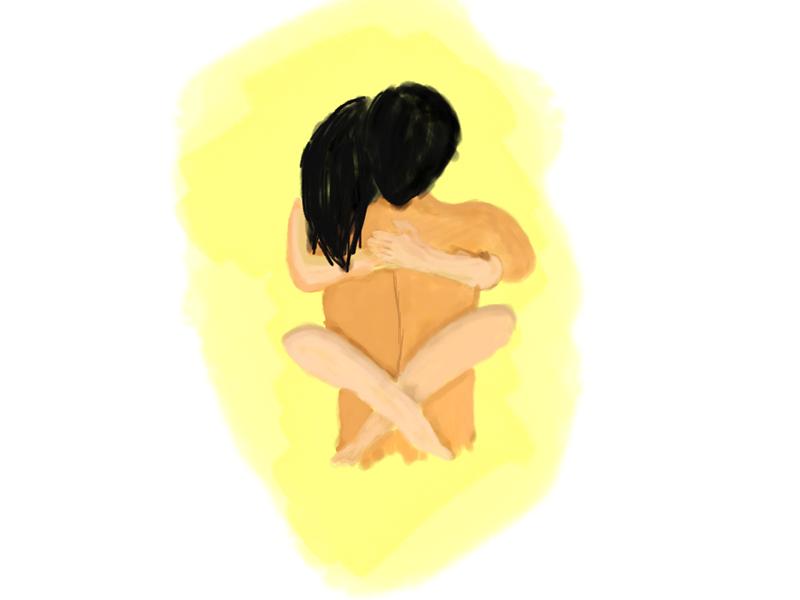 Illustration of passionate love kiss passion painting art digital illustration hug love