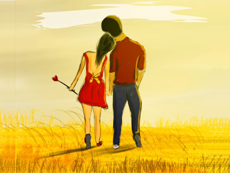 Couple in Fields painting drawing art sketch comic photoshop cartoon roses love illustration couple