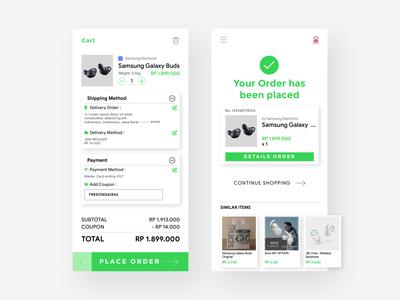 E-Commerce Cart & Order Placed UI Design