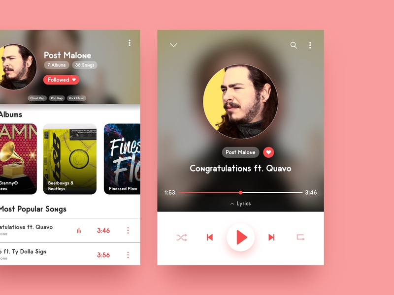 Minimalist Music Player UI music songs albums minimalist ui design music player music app