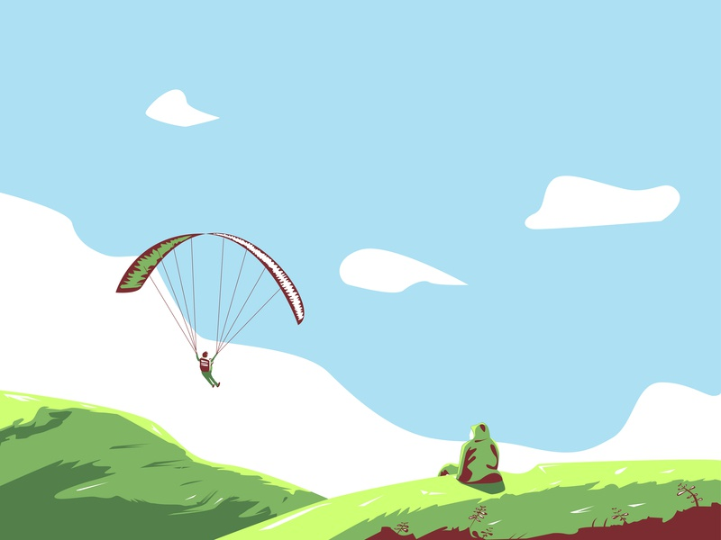 Watching Skydiving nature watching mountain skydiving vector illustration
