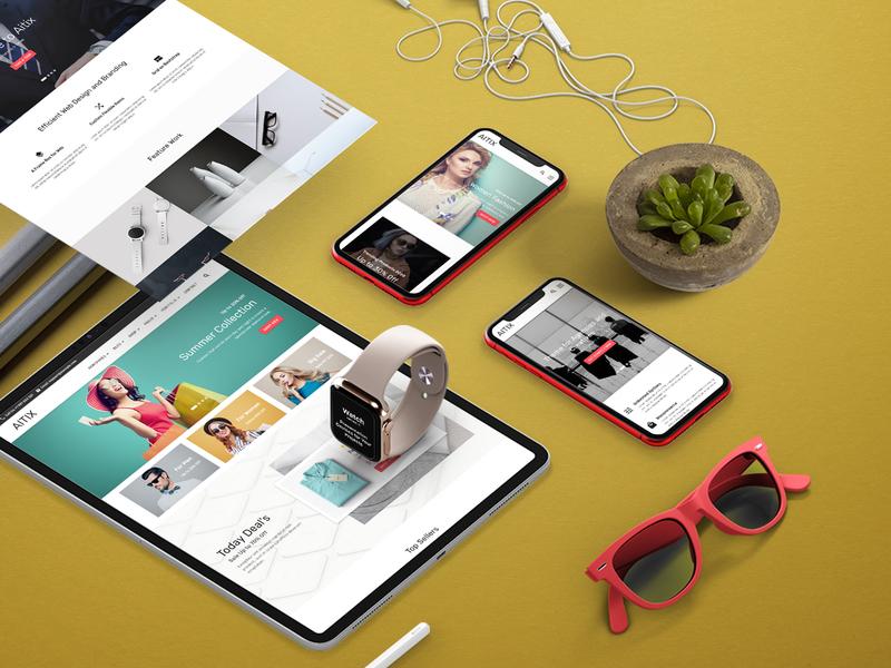 Aitix - Fashion Portfolio Multipurpose Clean Bootstrap Website T ecommerce minimal design fashion store blog clean creative portfolio