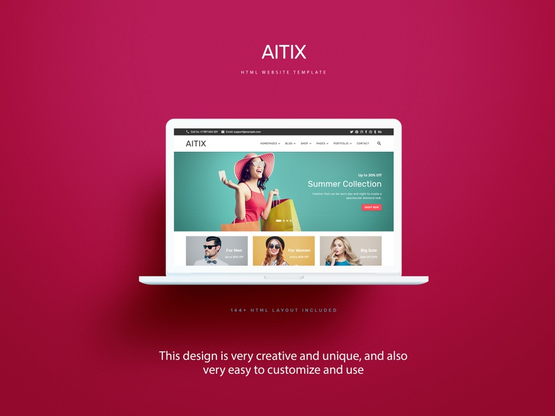 Aitix - HTML Website Template retina psd template landing page blog fashion store ecommerce creative clean minimal portfolio