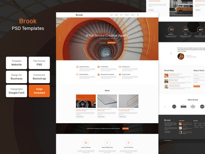 Brook - Business Material PSD Template typographer typedaily responsive webpage userinterfacedesign websitedesigner uitrends typeinspire