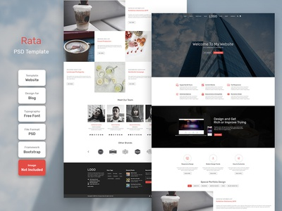Rata Business Homepage PSD Web Template digital marketing business landing web template page landing page web design website web template design