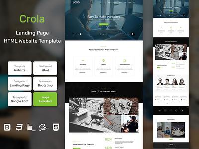 Crola Landing Page HTML Web Template V1.0 store shop web bem homepage sass website html blog portfolio personal business