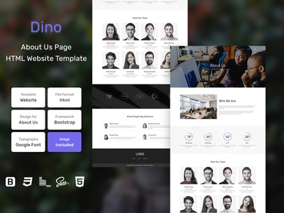 Dino About Us Page HTML Web Template V1.0 store shop web bem homepage sass website html blog portfolio personal business