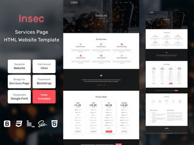 Insec Services Page HTML Web Template V1.0 shop web bem homepage sass website html blog portfolio personal business services page