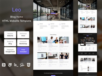 Leo Blog Home Page HTML Web Template V1.0 shop web bem homepage sass website html blog portfolio personal business services page