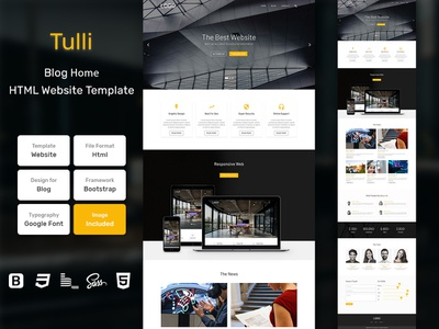 Tulli Blog Home Page HTML Web Template V1.0 shop web bem homepage sass website html blog portfolio personal business services page