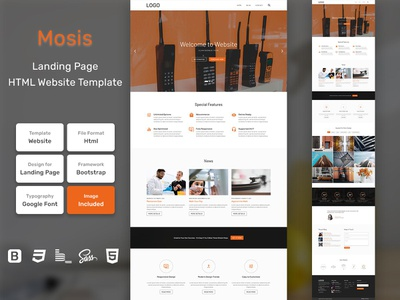Mosis Landing Page HTML Web Template V1.0 store shop web bem homepage sass website html blog portfolio personal business