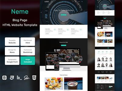 Neme Blog Page HTML Web Template V1.0 store shop web bem homepage sass website html blog portfolio personal business