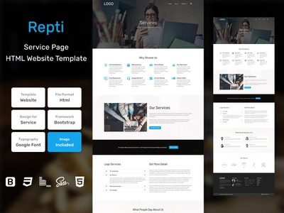 Repti Services Page HTML Web Template V1.0 store shop web bem homepage sass website html blog portfolio personal business