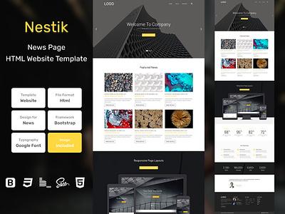 Nestik News Page HTML Web Template V1.0 store shop web bem homepage sass website html blog portfolio personal business