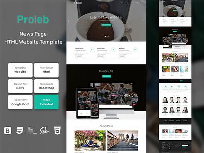 Proleb News Page HTML Web Template V1.0 store shop web bem homepage sass website html blog portfolio personal business