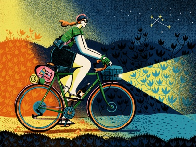 Southern Campout 2019 constellation southerncross stars woman bicycle bikebacking character texture photoshop illustration