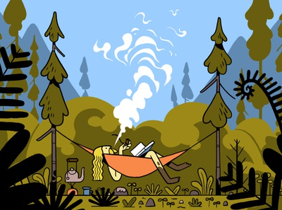 Trail Blazer chilling relaxing smokingpipe reading hammock drawing character photoshop illustration