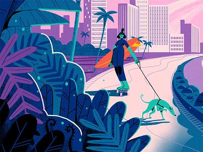 CultureTrip Durban promenade surfing skateboarding durban art dog character texture photoshop illustration