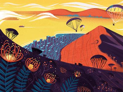 CultureTrip Cape Town mountain lionshead cape town flowers painting texture photoshop illustration