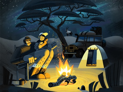 Toerboer Podcast Illustration starry night campfire africa stories camping podcast kids painting character texture photoshop illustration