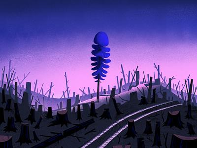 Last one standing moody environmental deforestation longpine tree photoshop illustration