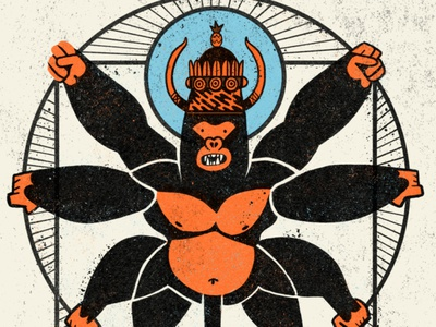 King Dong - Mercer Bikes mascot mountainbike monkey kingkong kingdong gorilla character texture photoshop illustration