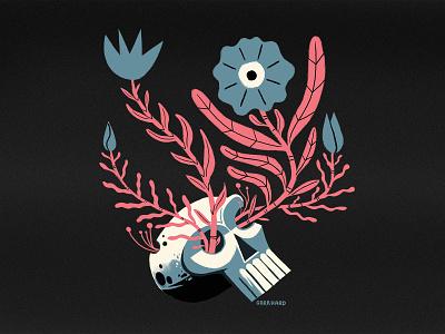 Skull Blossom print design skull flowers texture photoshop illustration