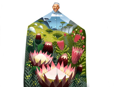 Madiba Day freedom shirt design shirt landscape mountains madiba floral flowers texture photoshop illustration