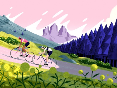 L'Eroica Dolomiti race poster vintage cycling dolomites landscape photoshop illustration
