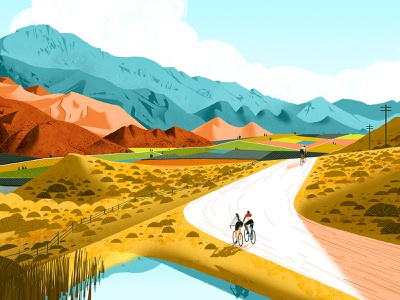L'Eroica South Africa 2021 graphic poster vintage bicycle event landscape cycling eroica travel illustration