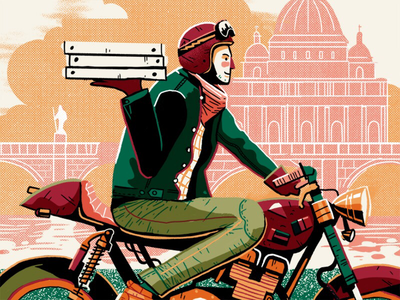 Pizza café racer vector delivery dubai rome texture characterization café racer pizza illustration